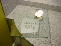 Java City - Glass Coffee serving counter