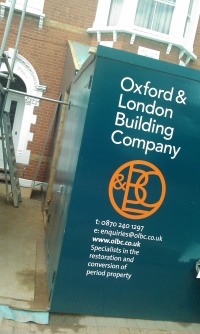 Vinyl cut lettering on Builders hoardings - Oxford & London Building Co.