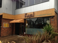 Kayal Restaurant - Wooden Fascia with 'Halo' lit built up lettering